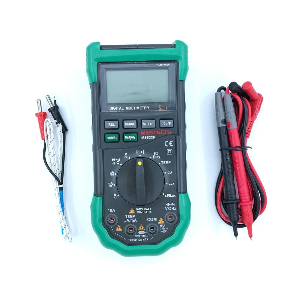 Mastech MS8229 Auto Range 5 In 1 Multi functional Digital Multimeter AC DC Voltage Current Capacitance Frequency Humidity