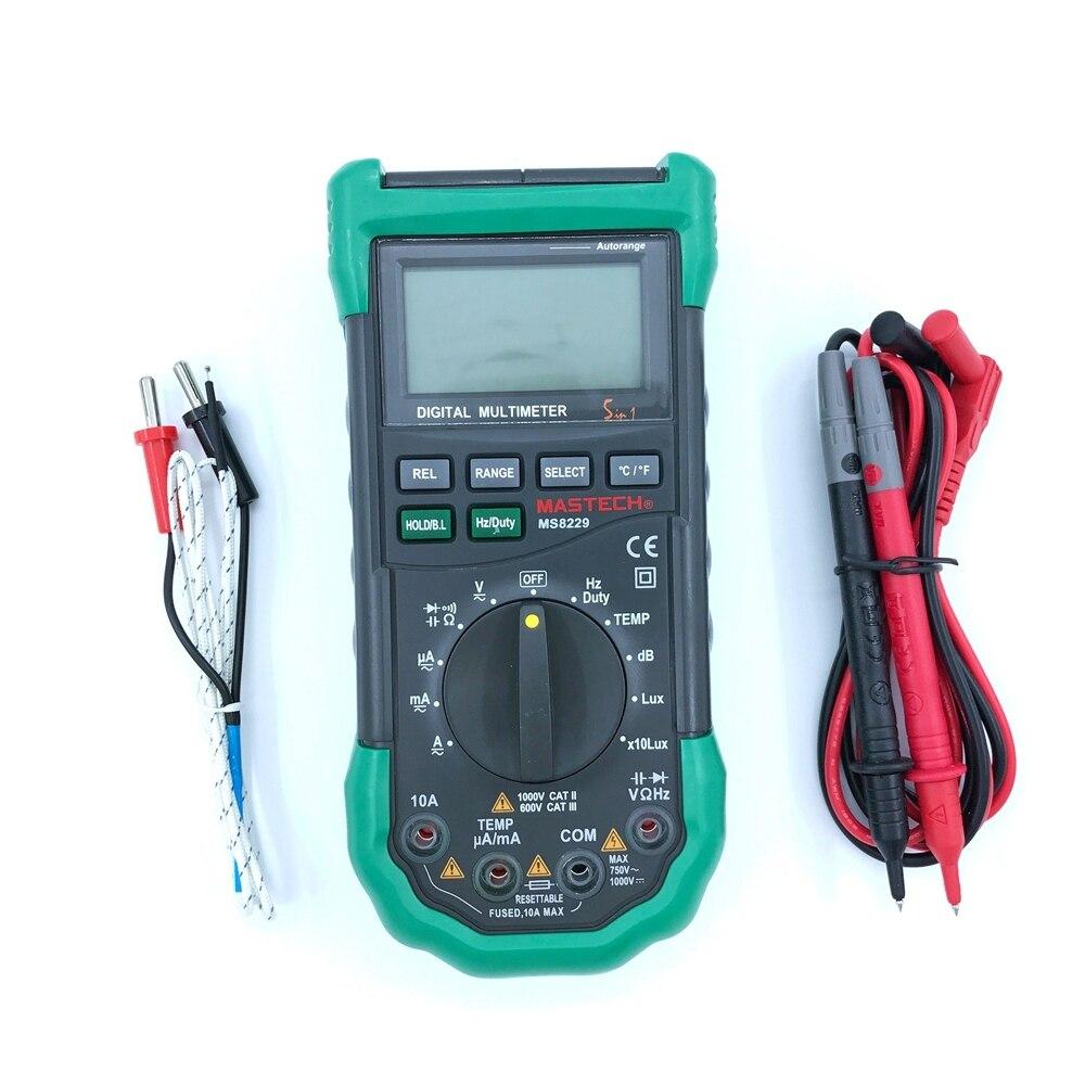 Mastech ms8229 auto gamme 5 en 1 multi-fonctionnelle numérique multimètre ac dc tension courant capacité fréquence humidité