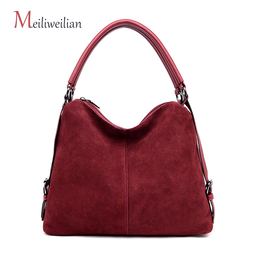 2018 Fashion Women Split Leather Shoulder Bag Female Suede Casual Crossbody Handbag Casual Lady Messenger Hobo Top-handle Bags joyir women weave genuine leather handbag female leisure casual lady crossbody shoulder bag women messenger top handle bags sac