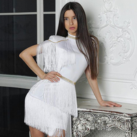 Adyce 2019 New Summer Red White Fringe Celebrity Evening Runway Party Dress Women Sexy Tassels Short Sleeve Club Dress Vestidos