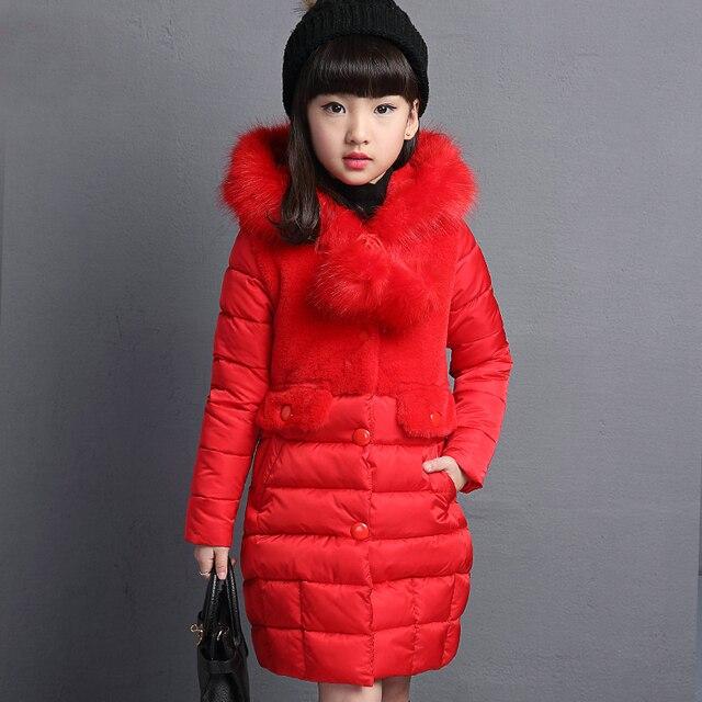 d39c76e60ecd 2018 Girls winter Hooded Jacket Girl warm long cotton padded jacket ...