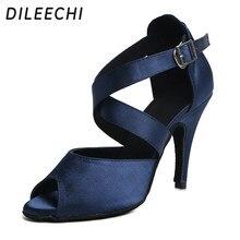 fdb520ced Dileechi اللاتينية أحذية الرقص كحلي المرأة عالية الكعب 10 سنتيمتر الساتان  الناعمة تسولي