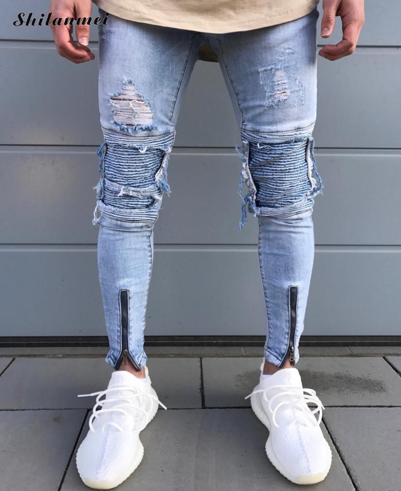 2017 Cool Zipper Jeans for Men Skinny Destroyed Famous Slim Brand Designer Hip Hop Swag Tyga Light Blue Patchwork biker Jeans hot 2017 blue ripped jeans men with holes cowboy super skinny famous designer brand slim fit destroyed torn jean pants for male