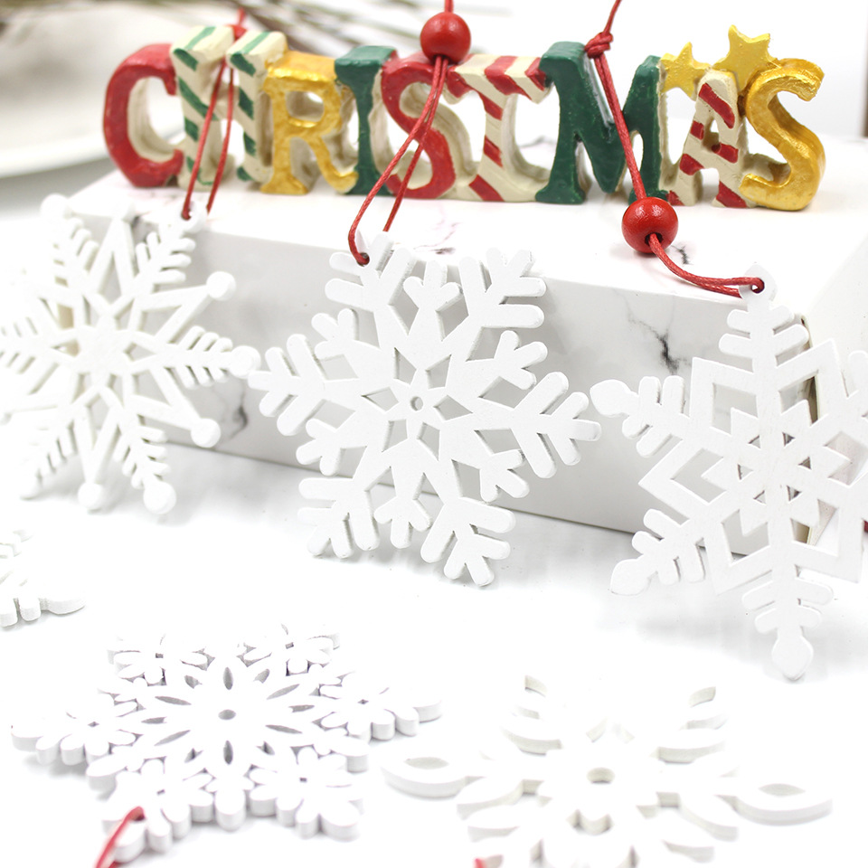 Frozen Party Christmas Snowflakes Decorations Wooden Ornaments Christmas Tree DIY Crafts Fake Snow Winter Decorations for Home