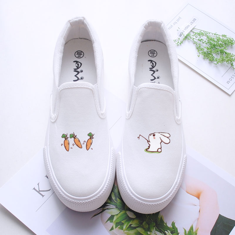 Cute Animals Hand Painted Canvas Shoes White Sneakers 2018 Platform Espadrilles Women Loafers Creepers Trainers e lov latest hand painted canvas shoes cute animals graffiti flat shoe custom casual espadrilles oxford shoes for women