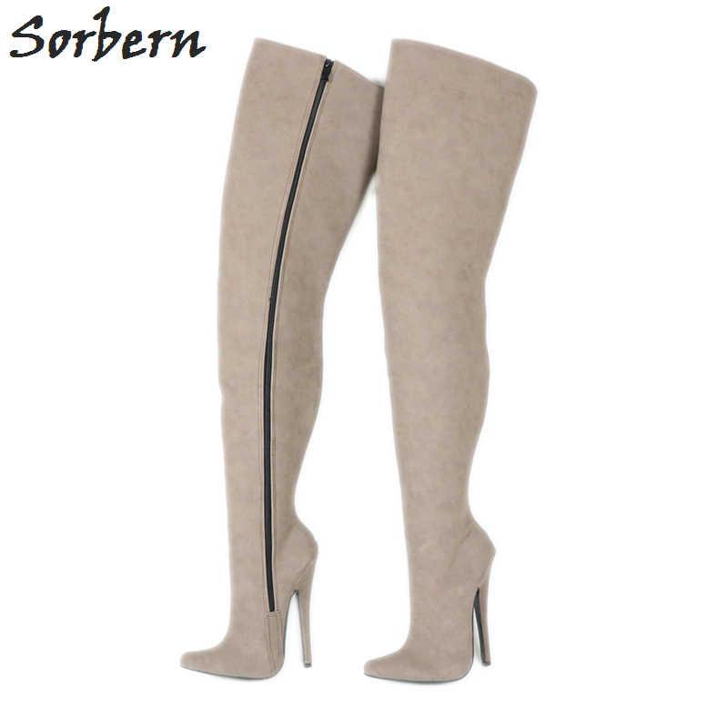 e2335ce3f75b Sorbern 60Cm Hard Shaft Contoured Custom Shaft Wide Leg Mid-Thigh 18Cm  Stiletto Boots Over