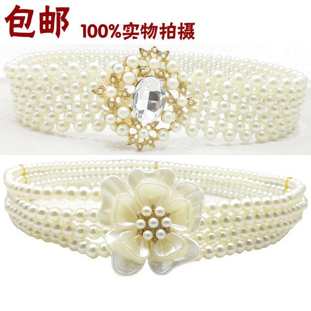 Lady Hight Elastic vestido Belt coreano pérola do diamante cadeia de cintura Buckle Wide elástico vestido de cintura decoração tudo Match B-3557