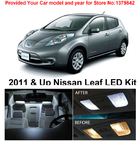 Free Shipping 6Pcs/Lot car-styling Xenon White Premium Package Kit LED Interior Lights For Nissan Leaf 2011 & Up