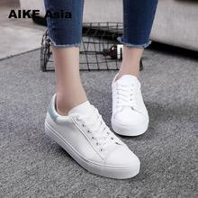 Women Sneakers 2018 Fashion Breathble Vulcanized Shoes Women Pu leather Platform Shoes Women Lace up Casual Shoes White sneaker