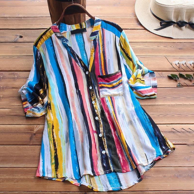 Cotton Linen Women's Tunic Striped Print Shirt Top Plus Size V-neck Ruffles Button Feminine Blouse 2019 Summer Woman Shirts Tops