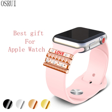 Watchband Silicone Decorative Ring For Apple Watch Band 38mm iwatch strap Stainless Steel women Original Ornament & LOVE Gift