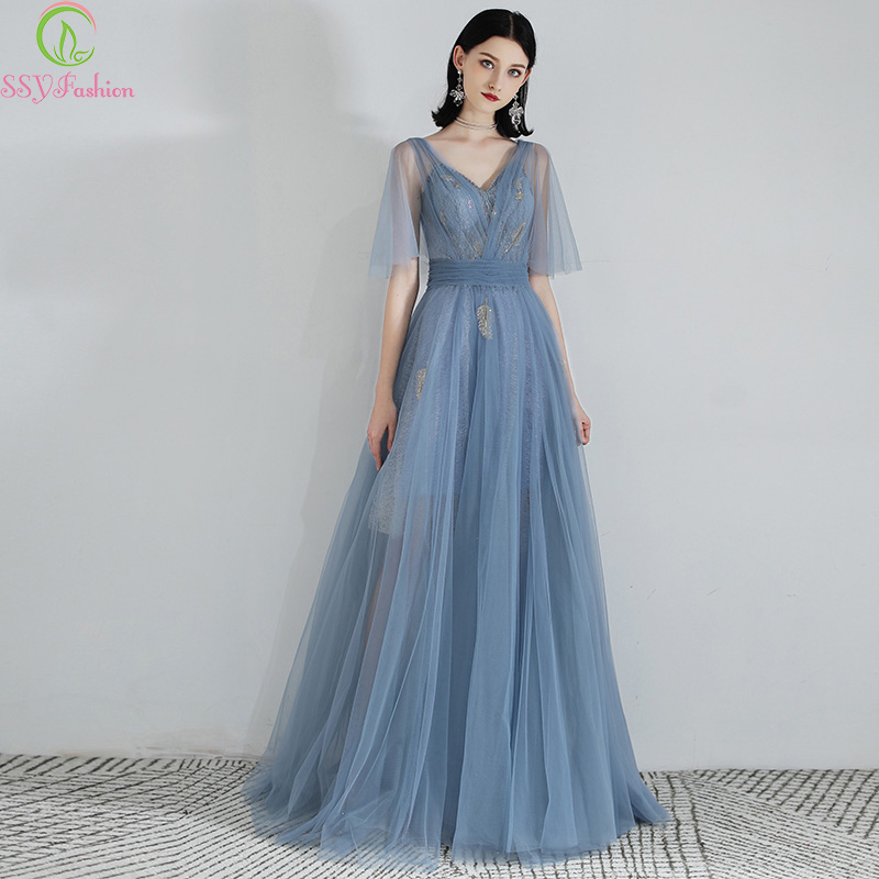 SSYFashion Special Occasion Dresses Banquet Elegant Grey Blue V neck Lace Appliques Long Evening Formal Gowns