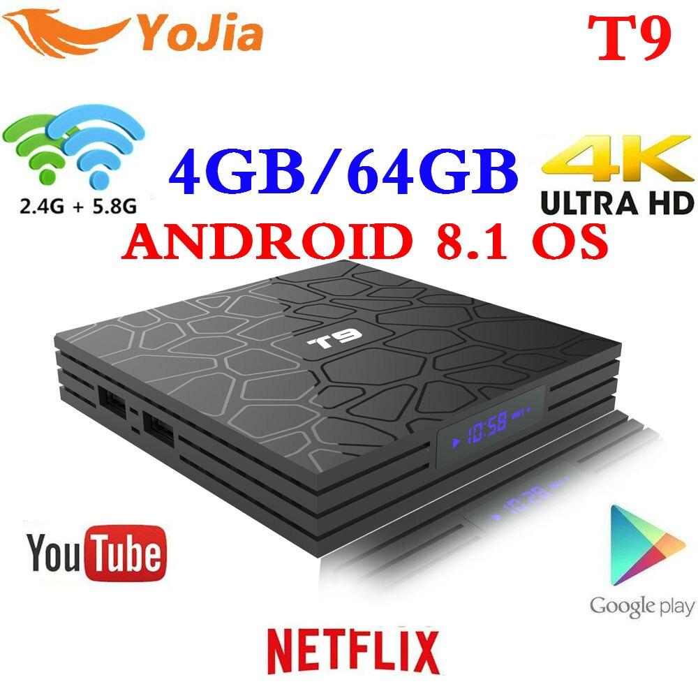 El más nuevo 4 GB 64 GB Android 8,1 caja de TV T9 RK3328 Quad Core 4g/32G USB 3,0 smart 4 K Set Top caja opcional de 2,4g/5g Dual WIFI Bluetooth