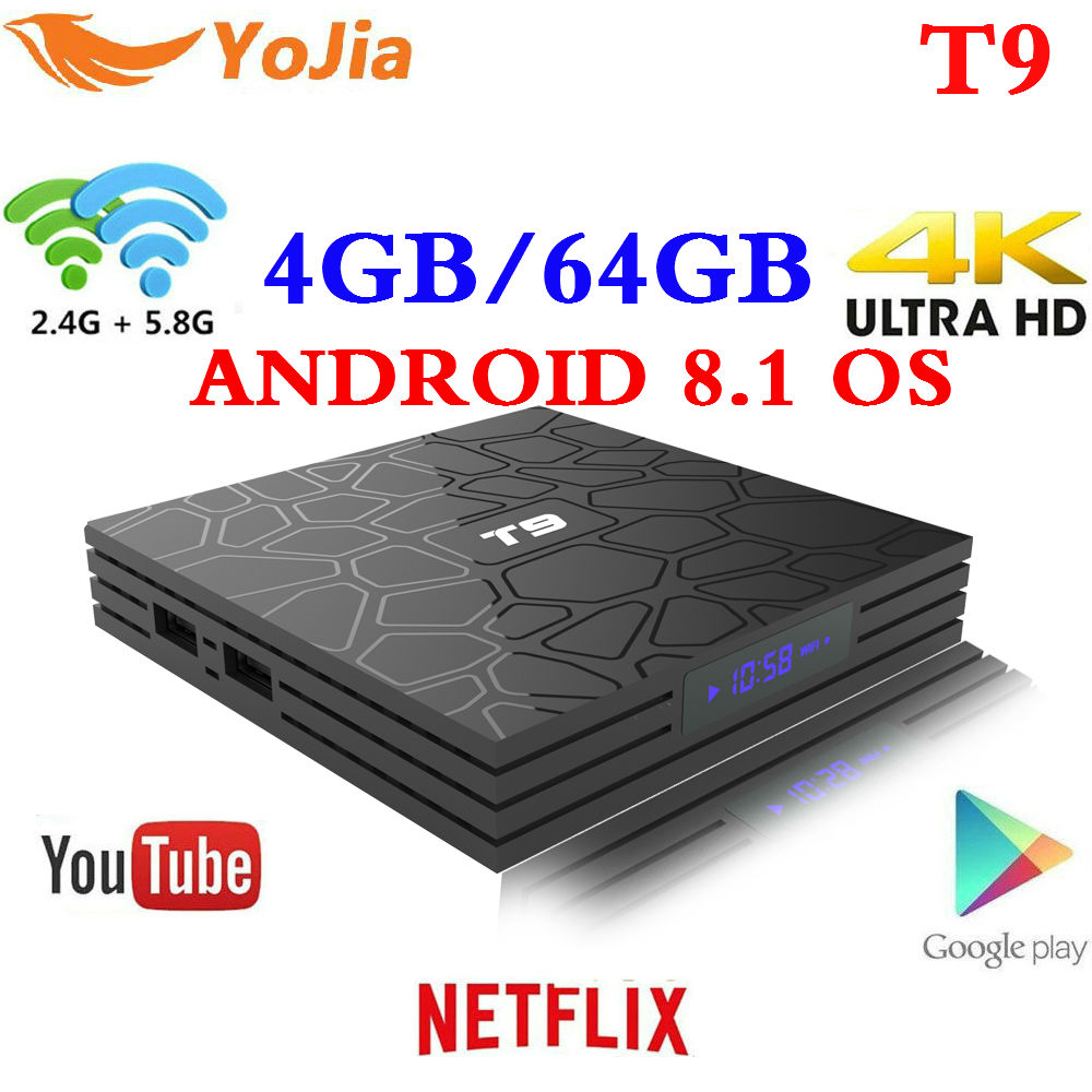 Más nuevo 4 GB 64 GB Android 8,1 TV Box T9 RK3328 Quad Core 4g/32G USB 3,0 inteligente 4 K caja superior opcional 2,4g/5g Dual WIFI Bluetooth