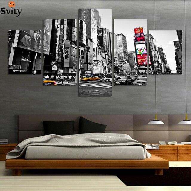2016 ventes chaudes sans cadre 5 panneaux image new york ville hd toile peinture des motifs mur. Black Bedroom Furniture Sets. Home Design Ideas