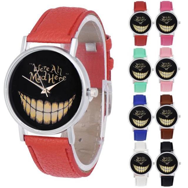 Splendid Women Men Leisure Time Faux Leather Analog Smiling Face Wrist Watch Masculino Reloje