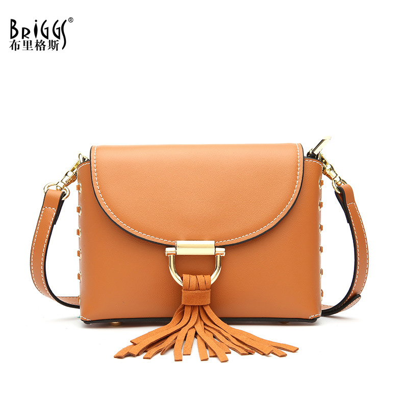 BRIGGS Tassel Crossbody Bags For Women Casual Genuine Leather Messenger Bag For Girls Flap Quality Leather Shoulder Bags