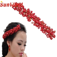 Garment 2017 Red Pearl Crystal Bride Headdress By Hand Bridal  Dress Accessories