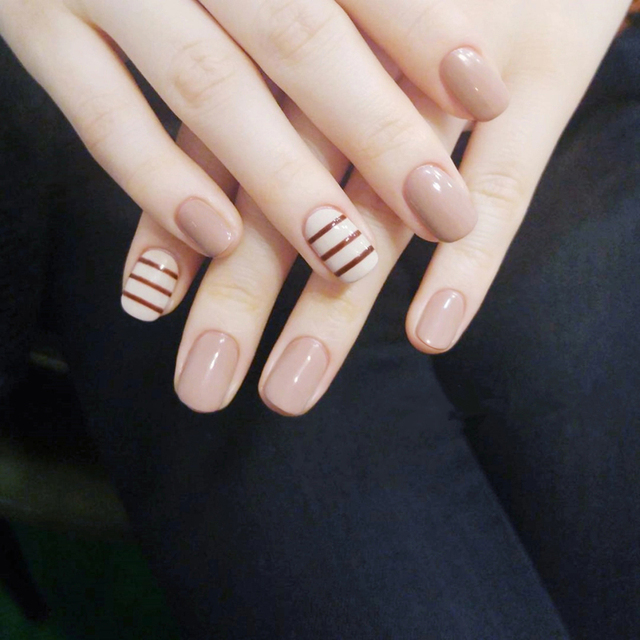 Nude pure color with stripped pattern false nails 24pcs with glue ...