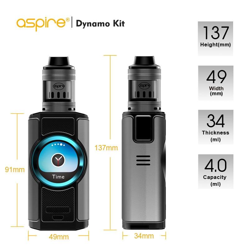 Aspire Original Dynamo 220 W Kit de Vape E Support de cigarette Modes WV/VV/dérivation/TC/TCR adapté au réservoir Nepho 2 pouces TFT écran Shisha Vape