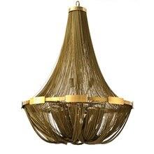 Aluminun цепочка с кисточкой винтажная люстра E14 Светодиодный люстры модные дизайнерские цепные лампы подвесной светильник