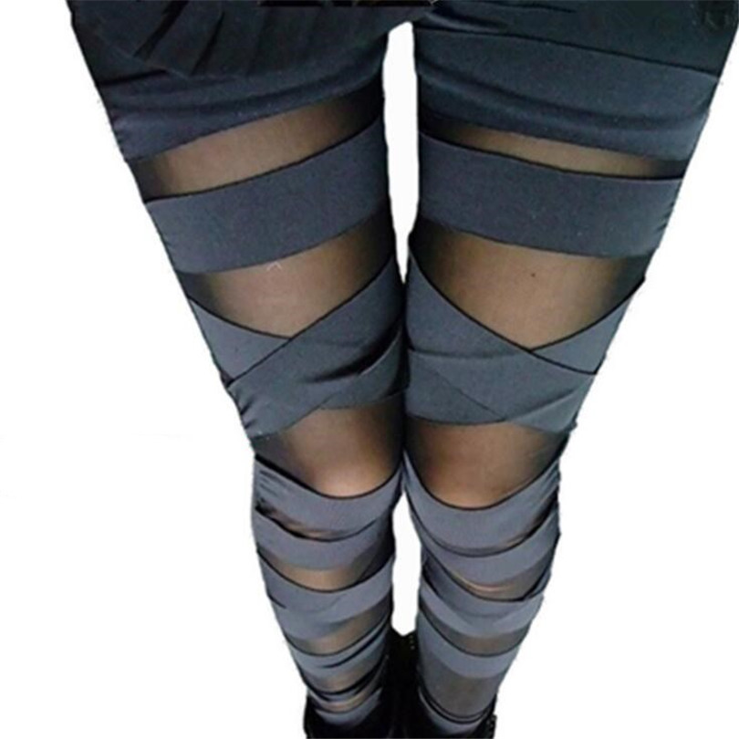 YGYEEG Sexy Fashion Women Summer Legging See Through Stripe Cross Tie Up Nine Points Women Leggings Thin Slim Bandage Leggings