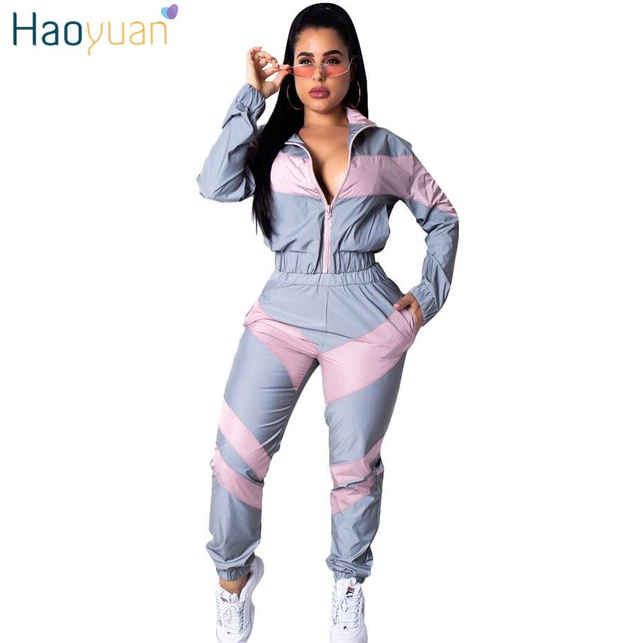 e366a9a5a HAOYUAN chándal ropa de mujer conjunto de dos piezas Top y pantalón traje  de sudor Streetwear ...