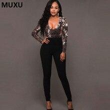 MUXU autumn sexy v neck sequin patchwork bodysuit black jumpsuit one piece long sleeve club women bodycon