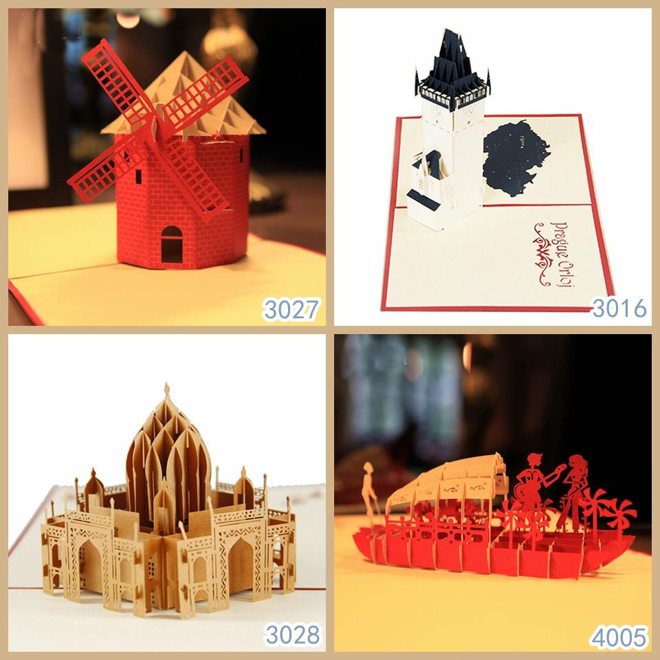 Famous Building Model Handmade Greetings Cards Kirigami 3d Pop Up Cards Free Shipping Combination Sale Card Template Card Clampcard Disk Aliexpress