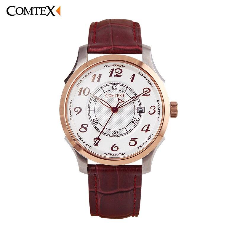 Comtex Men Watch Top luxury Brand Rose Gold Leather Wristwatch Fashion Causal Date Analog Quartz Waterproof Clock Masculino Gift