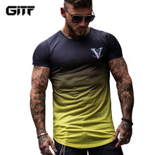 Gradient color 3D Printed Quick Dry Compression Men's T-Shirts Running Shirt Fitness Tight Tennis Soccer Jersey Gym Sportswear(China)