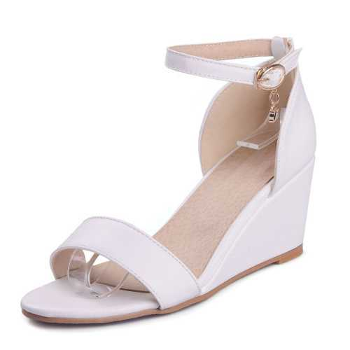 ФОТО Fashion Solid Women Summer Sandals Med Wedge Heels Ladies Pumps Plus Size 33-43 Casual Ankle Strap Shoes Woman With Buckle