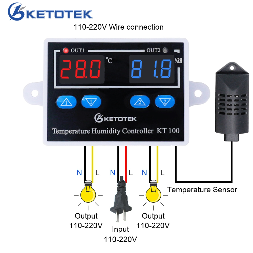 KT100 AC 110V <font><b>220V</b></font> DC <font><b>10A</b></font> Digital <font><b>Temperature</b></font> Humidity <font><b>Controller</b></font> Home Fridge Thermostat Humidistat Thermometer Hygrometer image