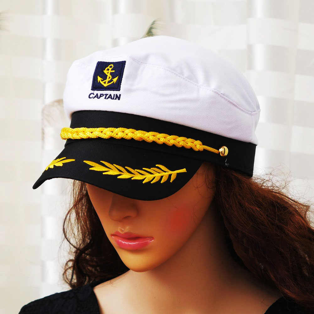 b0478761dd05d ... 1 PC Military Nautical Hat White Yacht Captain Hat Navy Cap Marine Skipper  Sailor Cap Costume ...