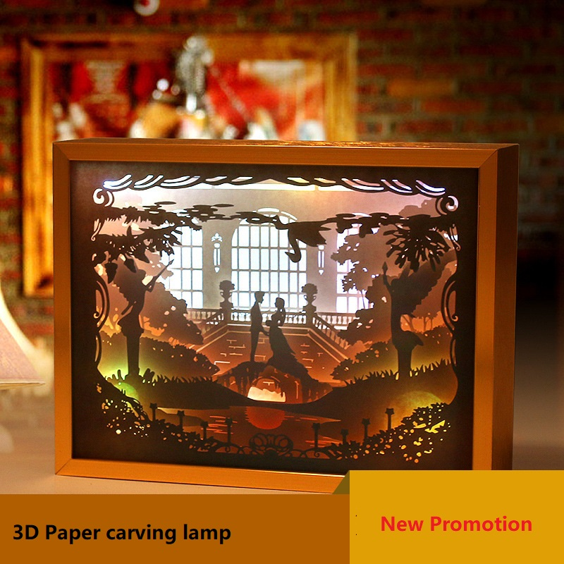 Novelty Prince Princess Romantic 3D Light Paper Carving Lamp Color Changeable Table Lamp Wedding Gift Decor Bedroom Night Light