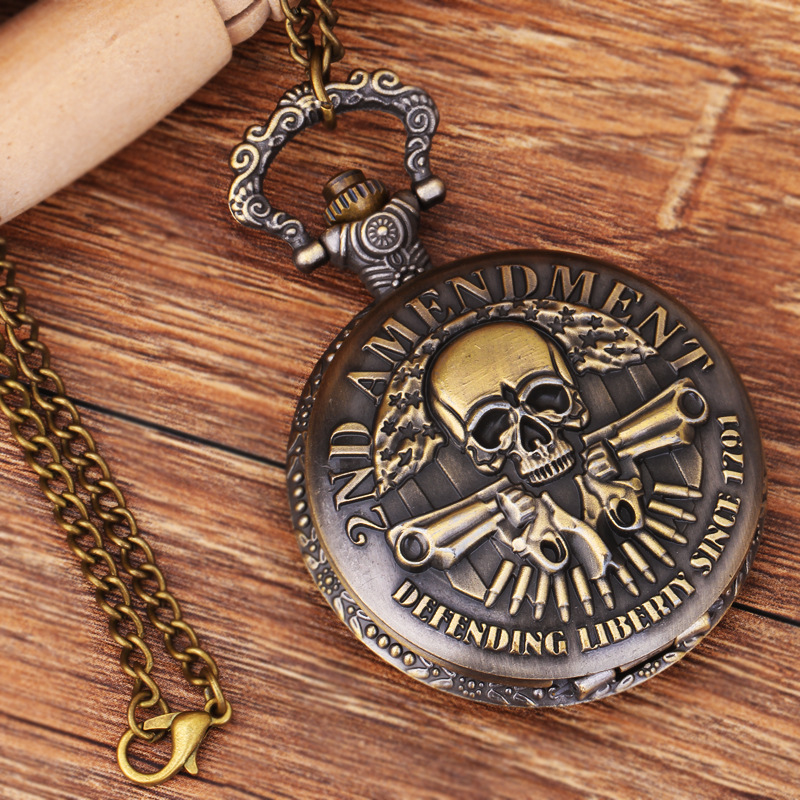 Pirates Of The Caribbean Ghost Head Theme Bronze Quartz Pocket Watches Fashion Vintage For Watches Christmas Brithday Gift