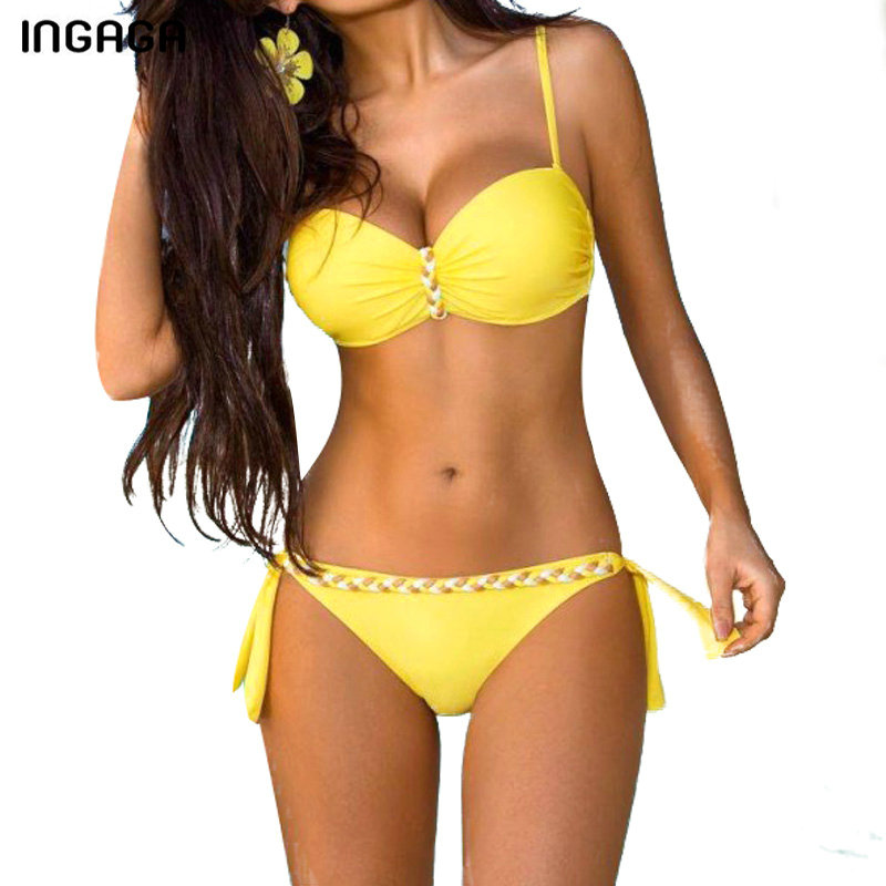 INGAGA New 2018 Sexy Bikini Set Push Up Swimwear Women Strap Swimsuit Solid Bathing Suits Summer Beach Bathing Suits XXXL 2018 sexy solid bikini new patchwork swimsuit women lace scallop edge bandeau bikini set swimwear female summer bathing suits