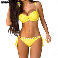 INGAGA New Sexy 2017 Bikinis Set Push Up Swimwear Women Brand Strap Bandage Swimsuit Bathing Suits