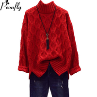 PEONFLY Women Winter Warm Christmas Sweaters Korean Twist Knitwear Pullovers Long Sleeve Thick Jumpers Loose Outerwear