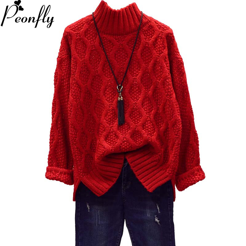 PEONFLY Women Winter Warm Christmas Sweaters Korean Twist Knitwear Pullovers Long Sleeve Thick Jumpers Loose Outerwear Tops
