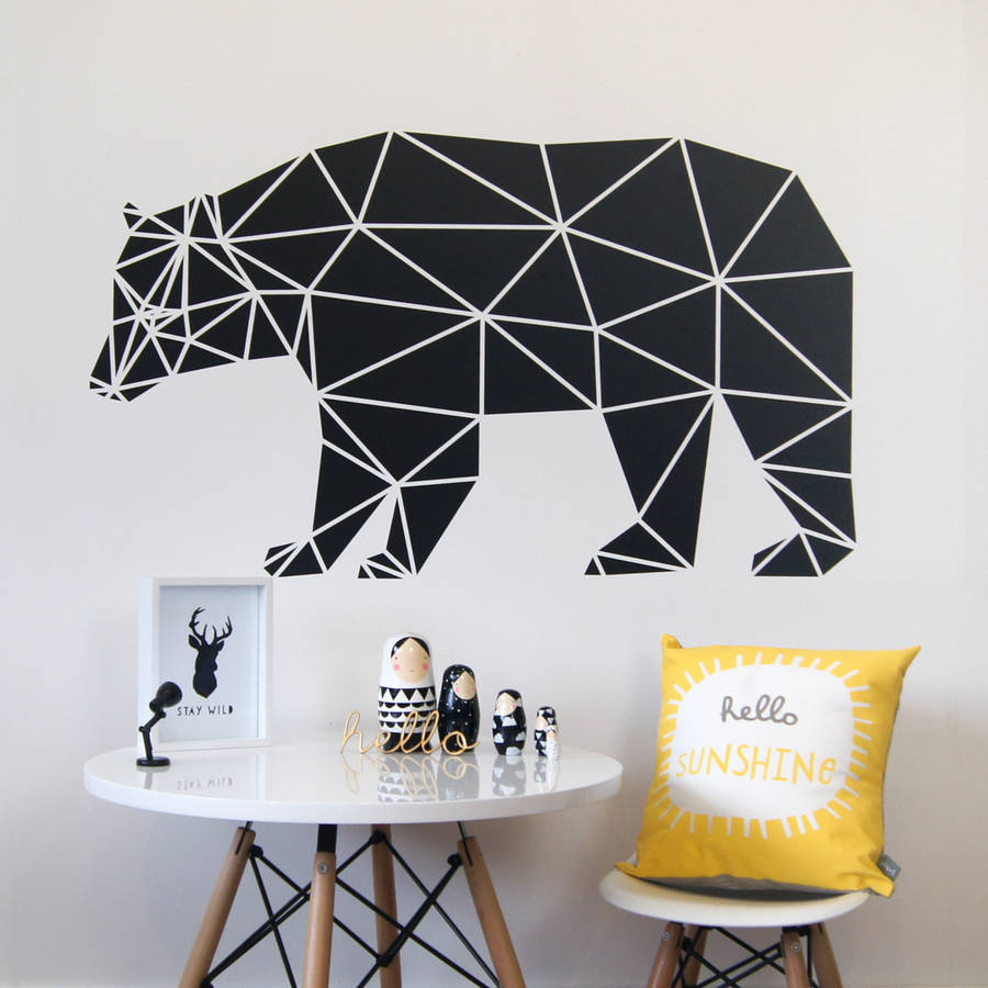 Nordic Style Bear Wall Sticker Geometric Pvc Removable Art Decor Mural Abstract Home Decoration Living Room Animal Decals S105 Wall Stickers Aliexpress