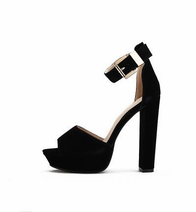 где купить hot sales 14 cm high heels sandals women sexy platform pumps summer fashion buckle women's shoes sandalias mujer size 41 shoes по лучшей цене