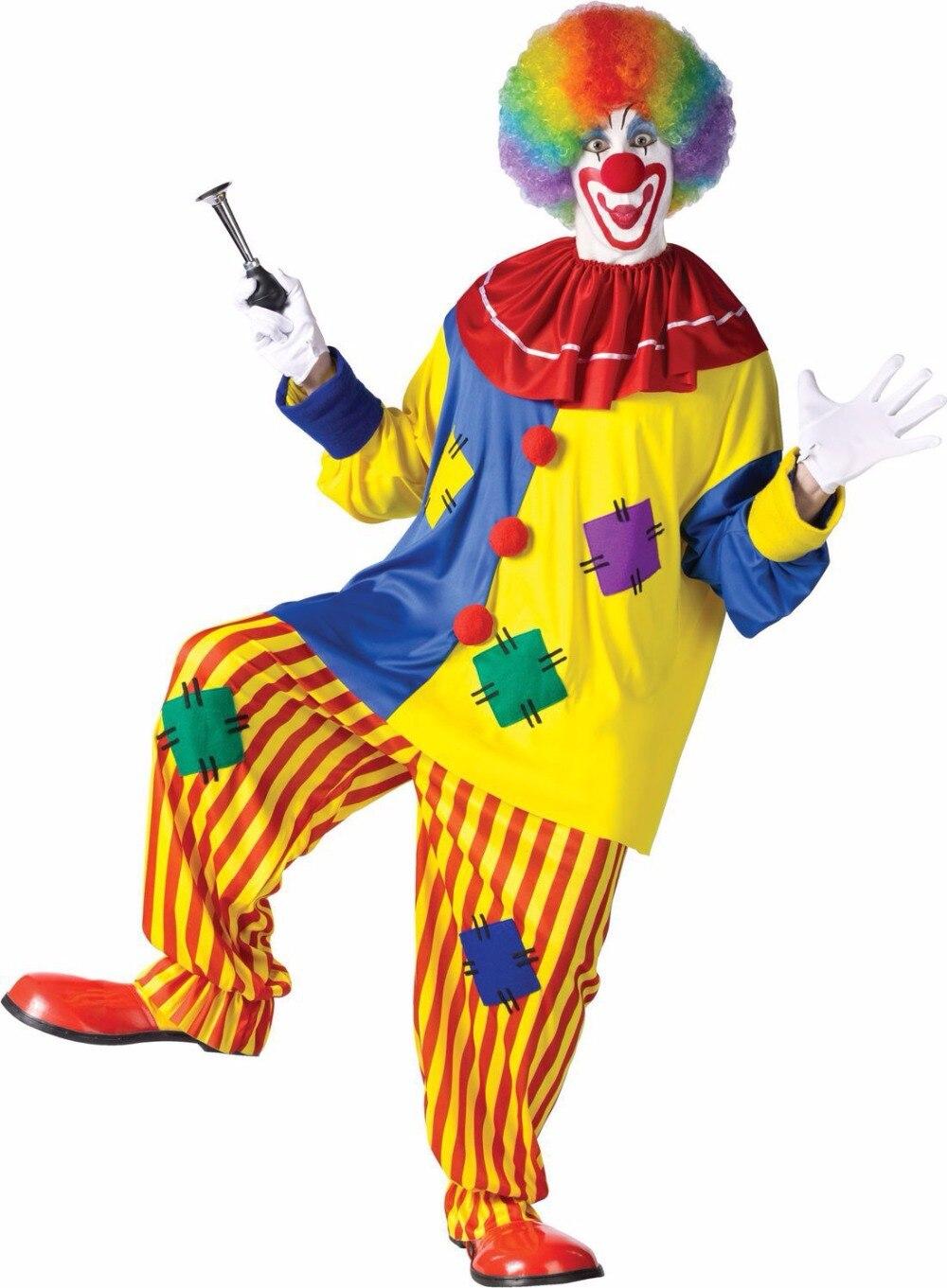 ハロウィンアメージングサーカスパフォーマンスピエロ衣装大人道化ハロウィーンユニセックスコスプレ服ジャンプスーツトップ+パンツ+鼻