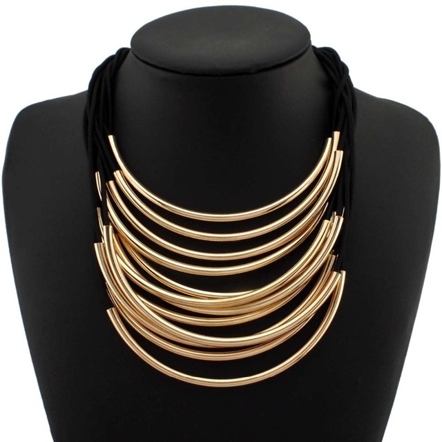 MANILAI Multi Layers Statement Necklaces For Women Maxi Choker Fashion Jewelry Rubber Band Bright Metal Pipe Pendants Necklaces