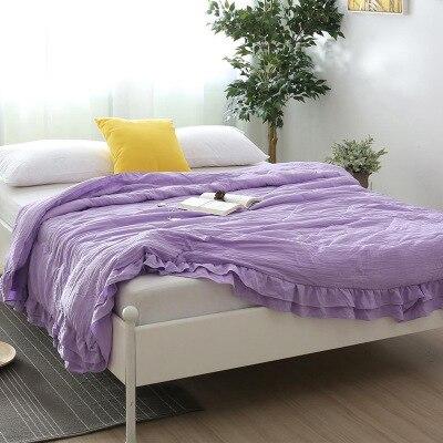 Однотонное розовое, зеленое, тонкое летнее одеяло, покрывало для кровати, лоскутное одеяло, подходит для взрослых, детей, домашний текстиль - Цвет: F