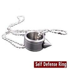 Нержавеющая Сталь Шокер Самообороны Поставки Оружия Выживания Кольцо Инструмент Карманный Женщины Самообороны Кольцо С 70 СМ Цепи