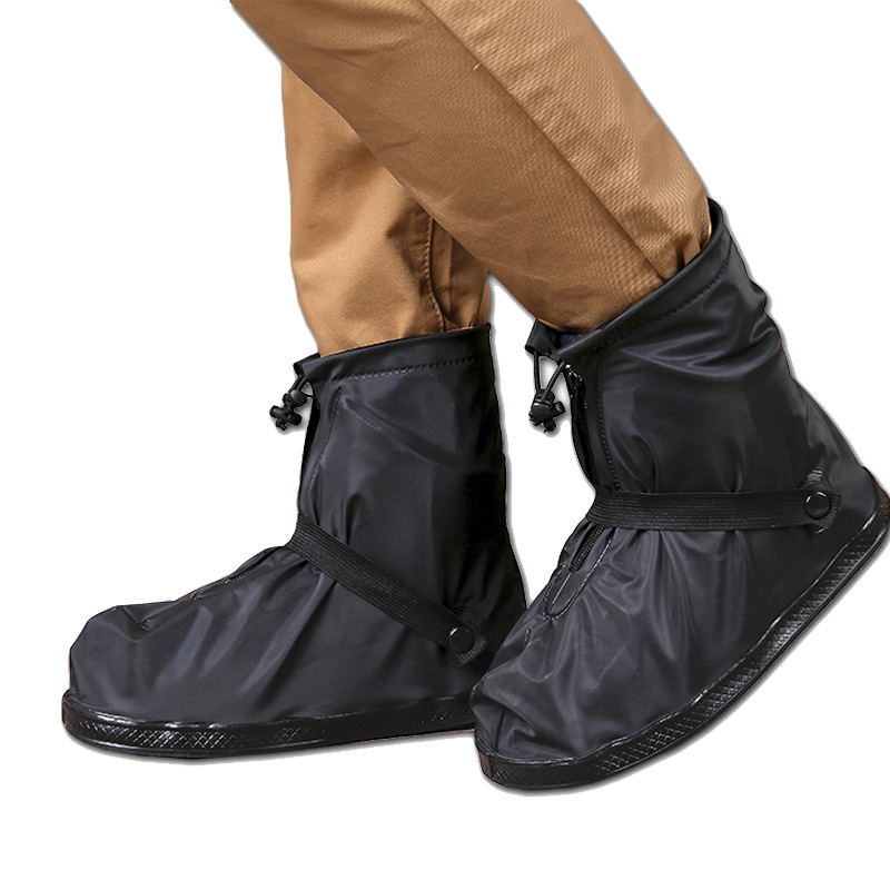 Outdoor Men Waterproof Shoes Covers Reusable Rain Snow Anti-Slip Women Rain Shoe Motorcycle Rainboot Travel Overshoes Boot Black