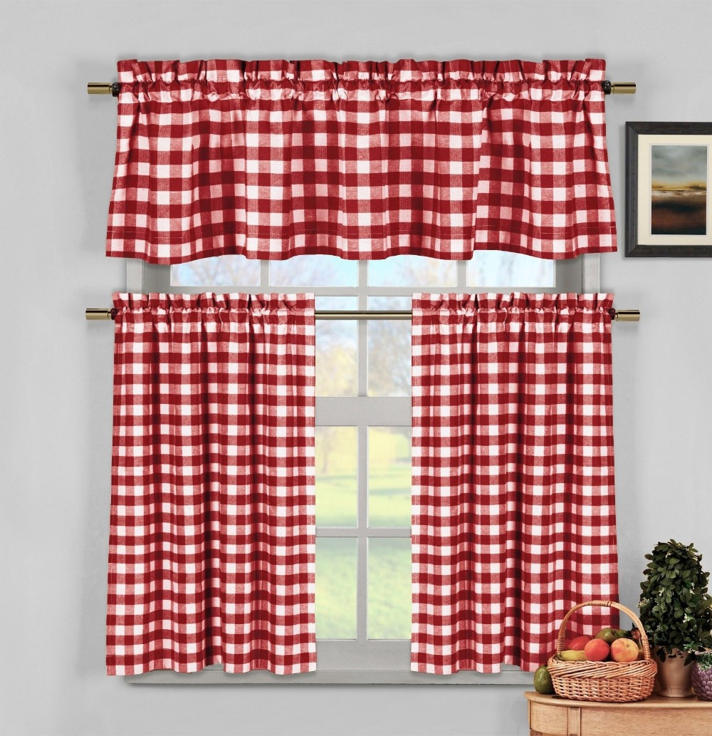 Red white gingham checkered plaid kitchen tier curtain valance set curtains for kitchen in curtains from home garden on aliexpress com alibaba group