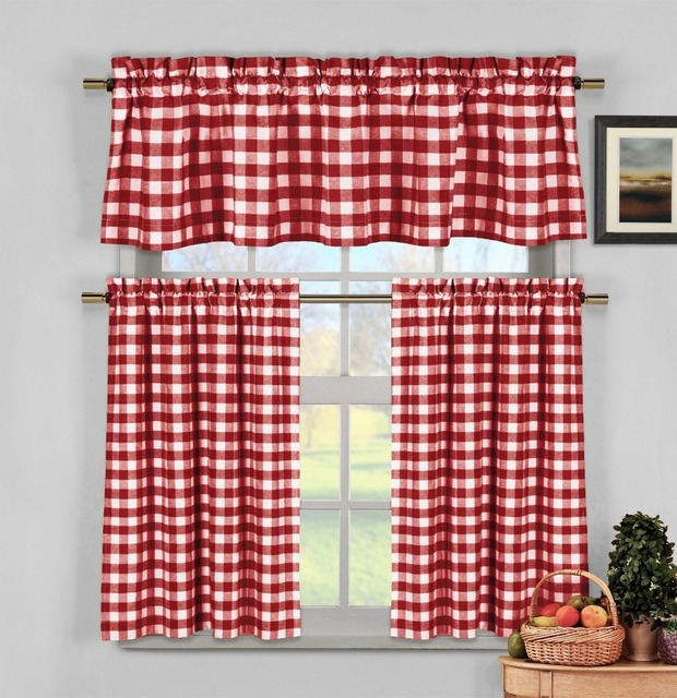 Red White Gingham Checkered Plaid Kitchen Tier Curtain Valance Set Curtains For Kitchen-in