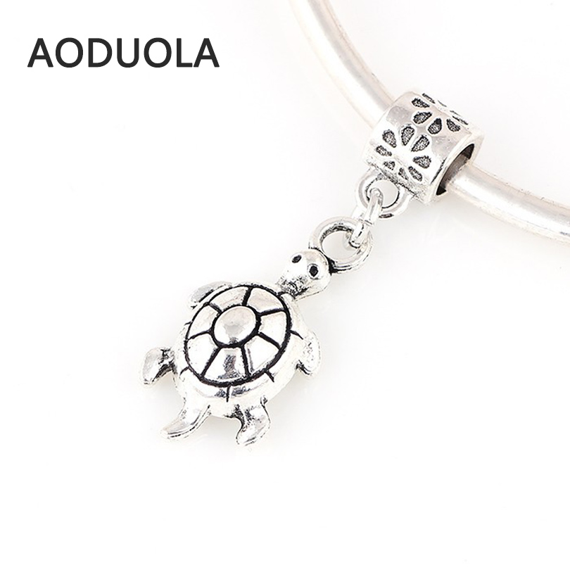 10 Pcs a Lot Silver Alloy Beads Sea Turtle Shape Bead Pendant DIY Big Hole Metal Charm Beads Fit For Pandora Charms Bracelets